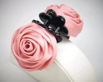 FREESHIPPING Rose pink chiffon hair clip ,flower hair clip, Flower for ponytail, Ponytail holder, Flower for hair, Flower girl hair