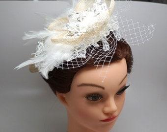 Free shipping Ivory Fascinator barrette, Flower feather rhinestone fascinator, Fascinator hat for wedding,