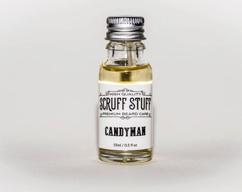 Candyman Beard Oil | A beard conditioning oil that stops flaking, hydrates the skin and softens the beard hair >> Plus it smells AWESOME..