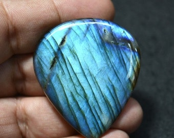 ON SALE 40% Blue Fire Labradorite Cabochon Gemstone, Black Rainbow, Pear Shape, Gemstone For Pendant, 40x46mm