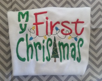My First Christmas Embroidery Shirt
