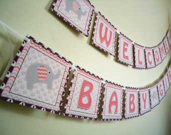 Baby Shower Banner - Elephant Banner - Pink and Grey Chevron Elephant Banner - Pink and Gray Elephant Sign - Welcome Baby Girl Banner