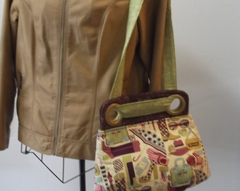 Handmade Mod Fabric Quilted Handbag