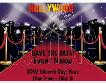 Hollywood Glam Save the Date 4x6 - Digital
