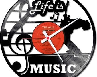 Vinyl Record Clock Life is music! Design