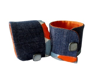 Cuff Bracelet fabric jean ethnic Raella