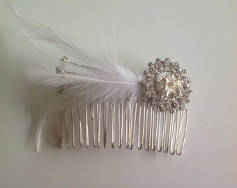 Vintage inspired broach and feather hair comb
