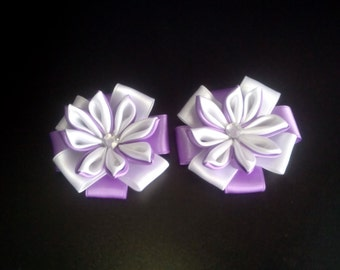 Hand made flower of double satin ribbon