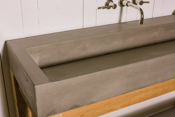 Gradient Concrete Vanity Sink Bathroom Ramp Sloped Custom