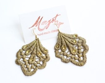 Lace Earrings, Swarovski® elements, Gold, hand-painted