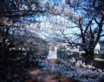 Cherry Blossom, Japanese print, Photo wall art, double exposure, girl and trees, film photography, home wall art, fine art print, wall art