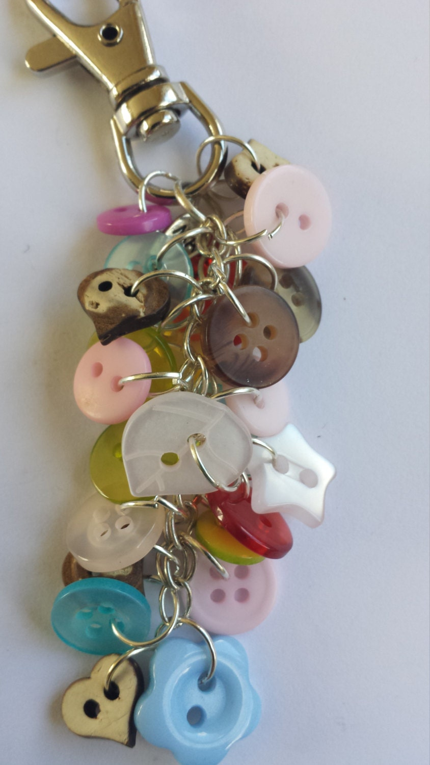 Buttons bag charm or keyring by keyringskeythings on etsy
