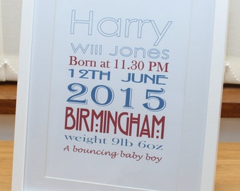Personalised framed prints - perfect for commemorating that new arrival
