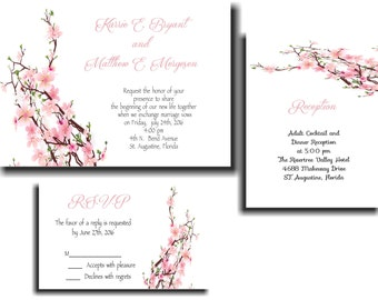 25 Pink Blossoms Wedding invitations RSVP and Reception cards