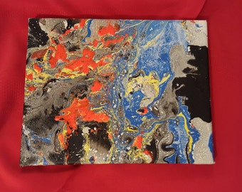 Bloby - Abstract Painting (Black Blue Yellow and Orange)
