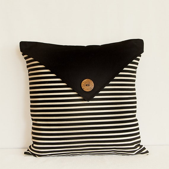 Pillow Cover in Black and Beige Pocket Style Pillow by WandWDecor