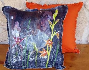 Cushion covers, Rusty spider & other orchids on Rusty metal, photographic montage.