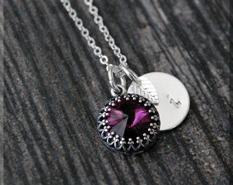 Silver Amethyst February Birthstone Necklace, Initial Charm Necklace, Personalized, February Birthstone Charm. Swarovski Amethyst charm
