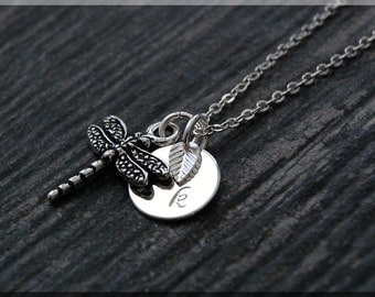 Silver Dragonfly Necklace, Initial Charm Necklace, Personalized Necklace, Insect Charm Necklace, Dragonfly pendant, Insect Jewelry