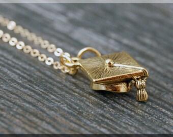 Gold Graduation Cap Necklace, Initial Charm Necklace, Personalized Necklace, Grad Cap Charm Necklace, Graduate pendant, New Grad Jewelry