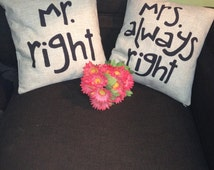 45x45 Two Lovely Handmade Pillow Covers Mr Right Amp Mrs