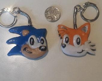 Handmade Polymer Clay Sonic & Tails Keyring Set.
