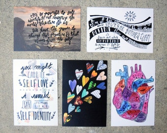Dragon Fruit Art Print Postcard Set Queer Asian American Pacific Islander Gaysian LGBTQ Stories Quotes Typography Identity Activism