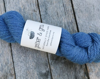 Deep sky blue wool yarn naturally dyed with indigo