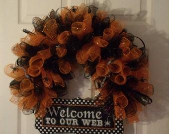 Welcome To Our Web deco mesh halloween door wreath