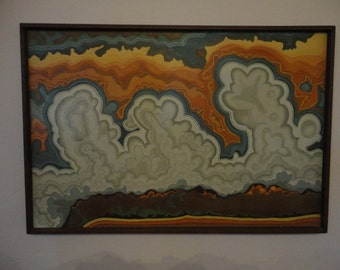 Vintage Psychedelic 70's Oil Painting on Canvas