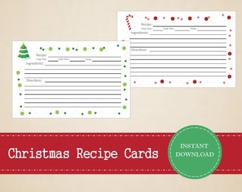 Christmas Recipe Cards - Printable and Editable for digital use - INSTANT PDF DOWNLOAD - Christmas Planning - Christmas Organizing - 3 Pages