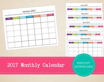 Printable 2017 Monthly Calendar - Editable 2017 Calendar - 2017 Monthly Planner - INSTANT PDF DOWNLOAD