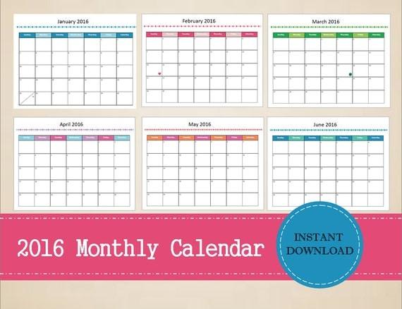 Editable Monthly Calendar : Items similar to printable monthly calendar
