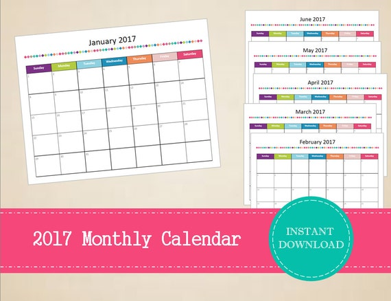 Printable 2017 Monthly Calendar Editable 2017 Calendar