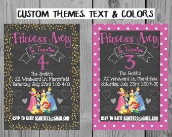 Custom Chalkboard Printable Disney Princess Invitation Princess Birthday Invitation Princess Party Belle Cinderella Jasmine Ariel Snow White