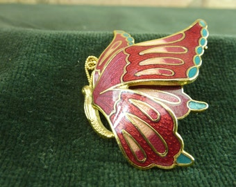 Vintage Enamel Brooch of a Butterfly in mid fright