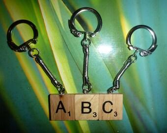 Scrabble Keyring art keychain custom unique gift choose your letter - Free Post
