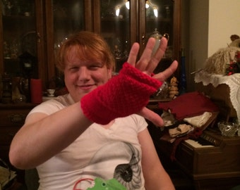 Moss stitch mittens