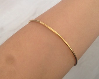 Minimal gold filled thin bangle bracelet