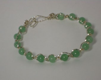 Green, Adventurine, Beads, Bracelet, Wirewrapped, Sterling Silver
