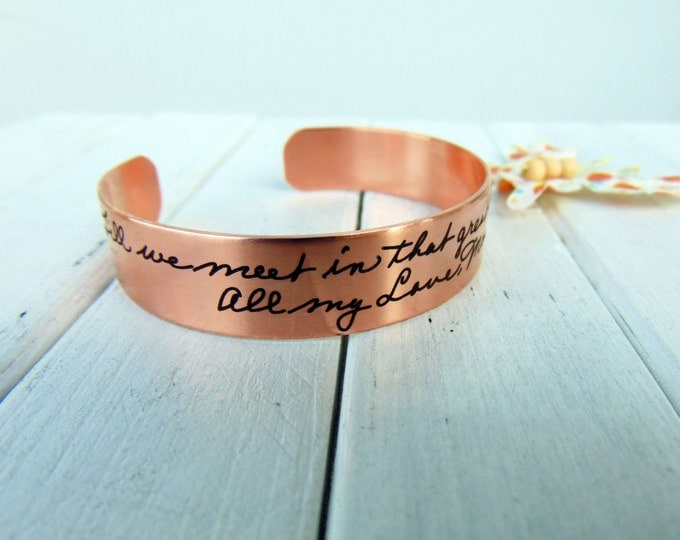 Handwritten Cuff Bracelet- YOUR HANDWRITING - your text, your design,  Copper, Steel or Brass Option - Perfect For Layering - Gift For Her