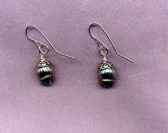 Silver Drop Earrings with Silver Plated Wires