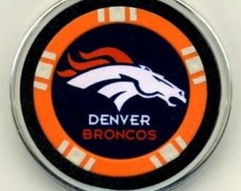 Denver Broncos poker chip card guard - Broncos card protector