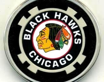 Chicago Blackhawks poker chip card guard - Blackhawks card protector