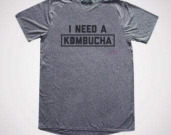 I Need a Kombucha Slim Gym V-neck   Hella Healthy   Plant Based Apparel   Veggie Centric   Kale   I Stay Woke  