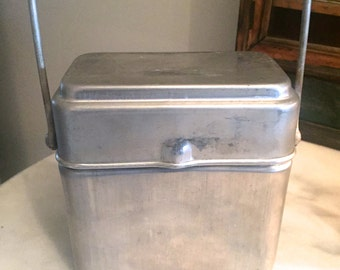 1930s Vintage French Aluminium Lunch Pail Box
