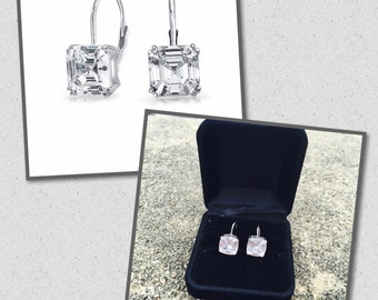 Elegant sterling silver, white gold, cubic zirconia earrings