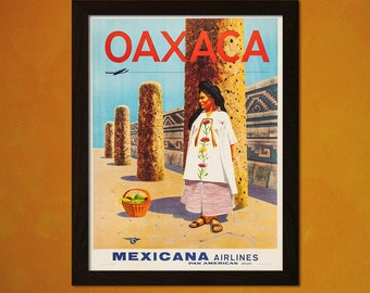 Oaxaca Travel Print 1960s Vintage Travel Poster Tourism  Decor  Mexico Poster  Decor Oaxaca Poster  bp