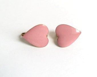Vintage Pink Enamel Heart Earrings