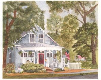 Custom House Watercolor 11x14